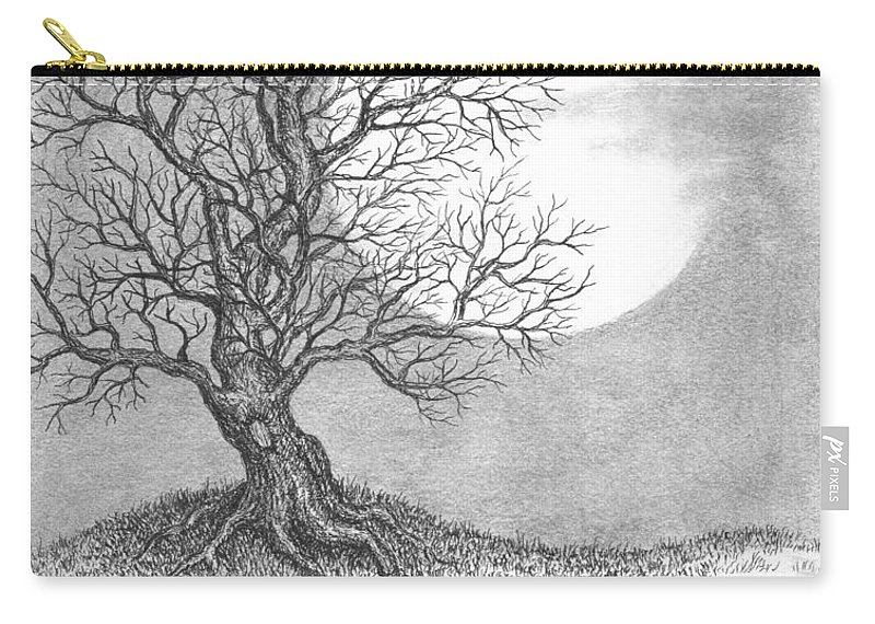 Pen And Ink Carry-all Pouch featuring the drawing October Moon by Adam Zebediah Joseph