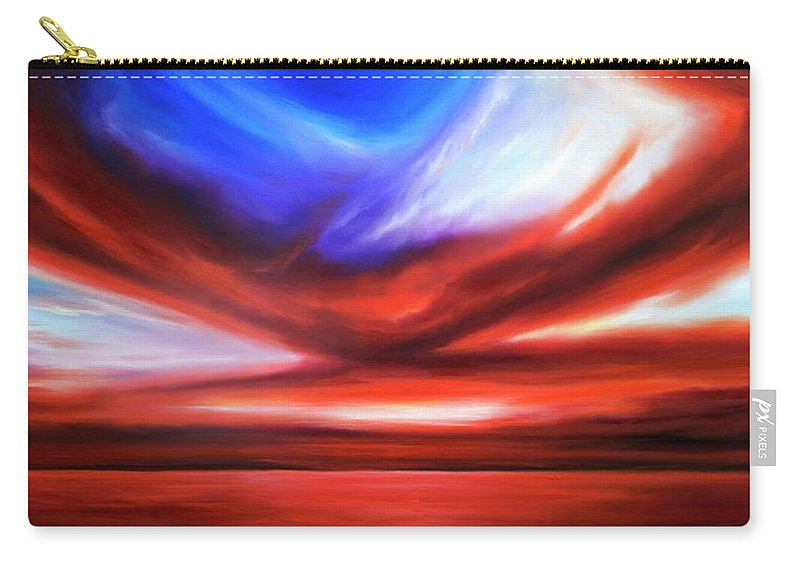 Sunrise; Sunset; Power; Glory; Cloudscape; Skyscape; Purple; Red; Blue; Stunning; Landscape; James C. Hill; James Christopher Hill; Jameshillgallery.com; Ocean; Lakes; Storm; Tornado; Lightning Carry-all Pouch featuring the painting October Sky V by James Christopher Hill