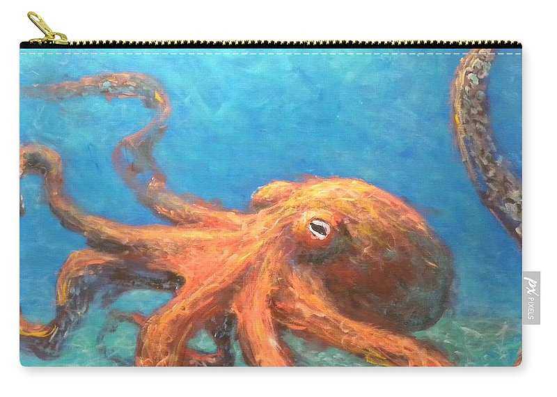 Octopus Carry-all Pouch featuring the painting Octopus by Paul Emig