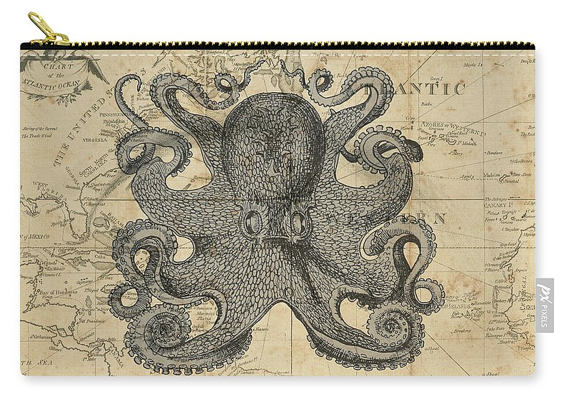 Octopus Carry-all Pouch featuring the digital art Octopus Sea Chart by Erin Cadigan