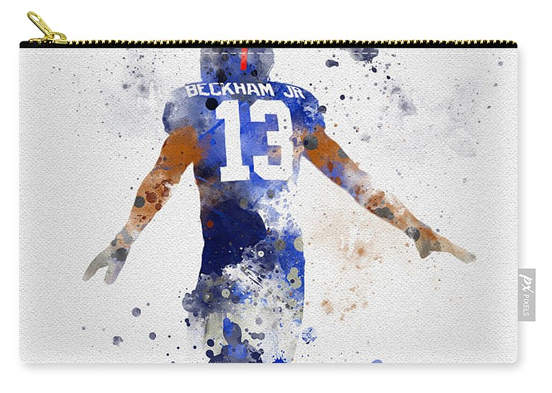Odell Beckham Jr Carry-all Pouch featuring the mixed media Odell Beckham Jr by Rebecca Jenkins