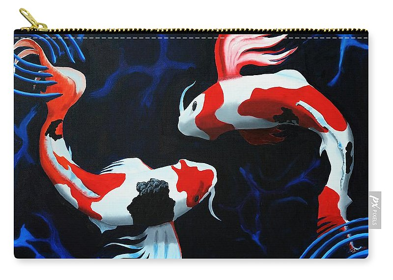 Koi Carry-all Pouch featuring the painting Odori by D Turner