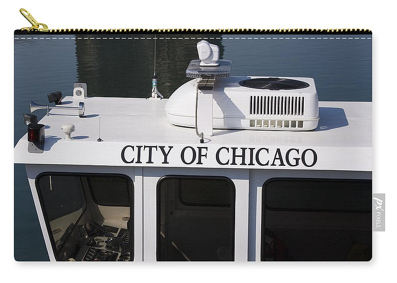 Chicago Windy City Police Boat Lake Michigan Water White Carry-all Pouch featuring the photograph Off Duty by Andrei Shliakhau