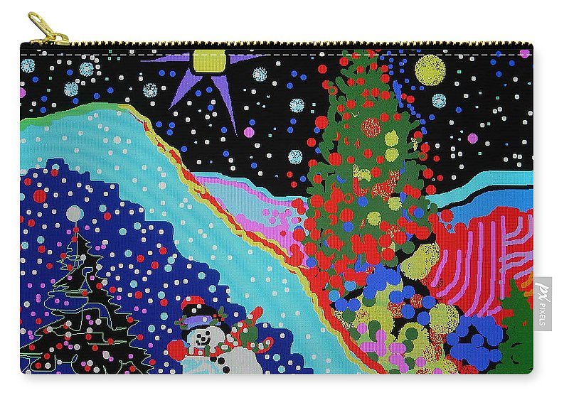 Fun Whimsy Whimsical Snowman Decorated Christmas Tree Stars Snow Color Lights Carry-all Pouch featuring the digital art Oh The Joys Of Winter by Catherine Robertson