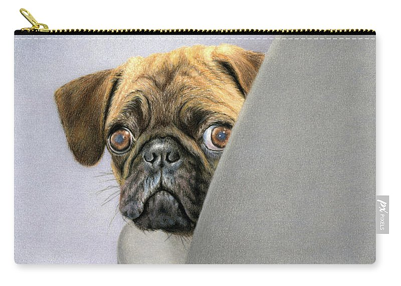 Pug Carry-all Pouch featuring the painting Oh, You're Home... by Sarah Batalka
