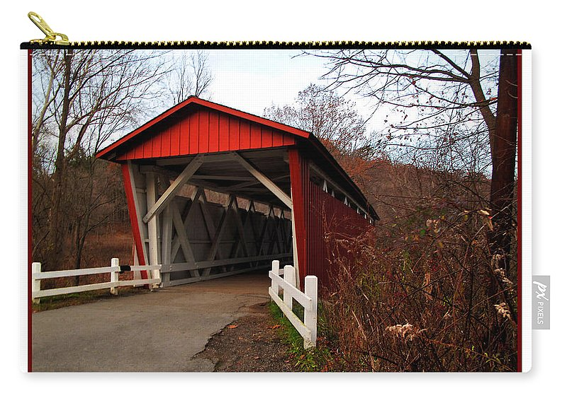 Bridge Carry-all Pouch featuring the photograph Ohio Covered Bridge by Joan Minchak