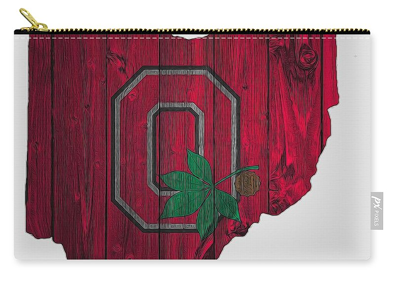 Ohio State University Carry All Pouch Featuring The Digital Art Buckeyes Map By