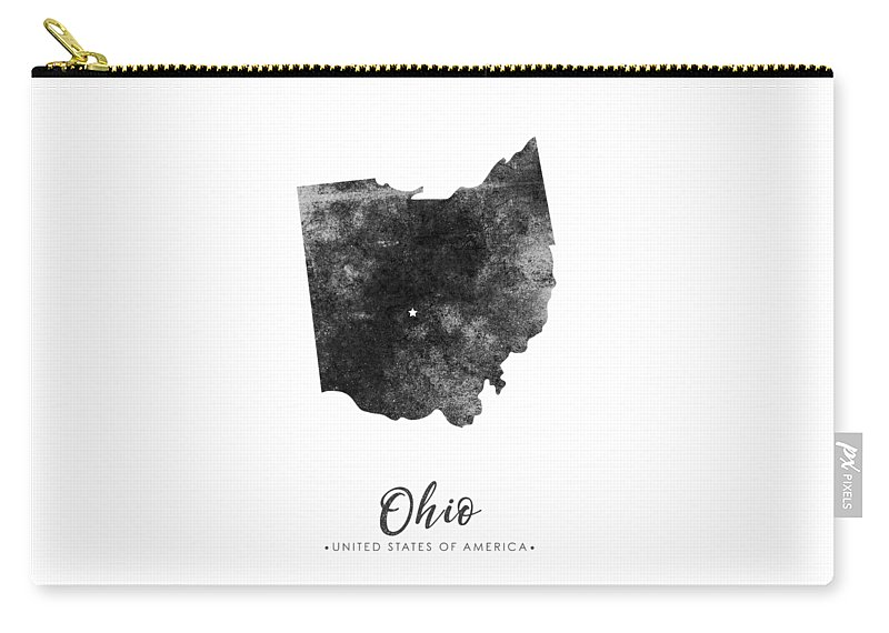 Ohio State Map Art - Grunge Silhouette Carry-all Pouch