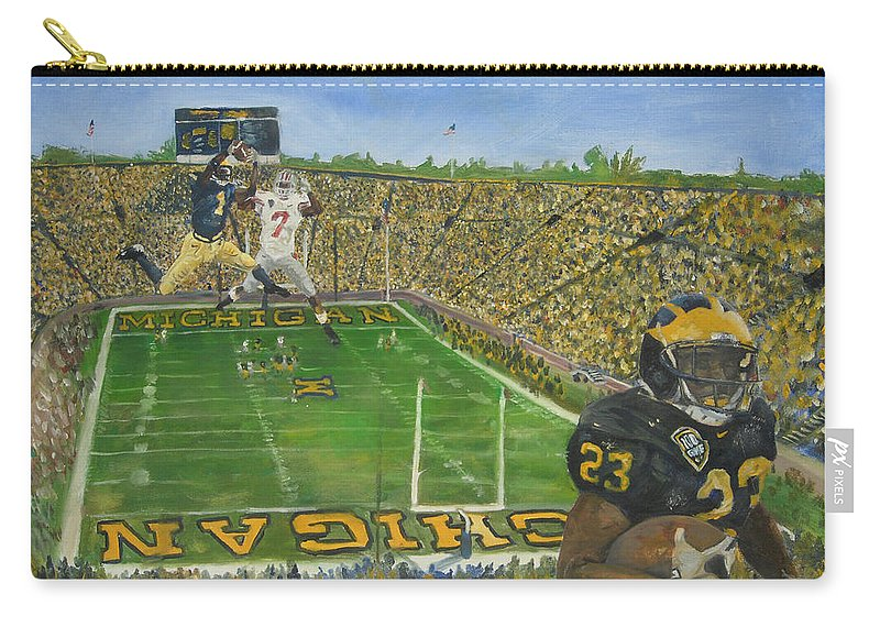 Michigan Carry-all Pouch featuring the painting Ohio State Vs. Michigan 100th Game by Travis Day