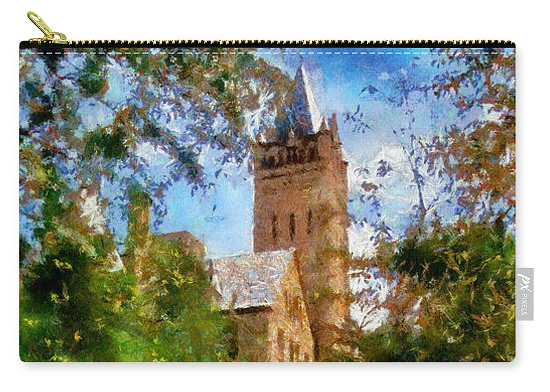 Ohio Wesleyan University Chapel Carry-all Pouch featuring the painting Ohio Wesleyan Chapel by Betsy Foster Breen