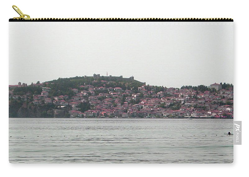 #ohrid #lake #oldtown Carry-all Pouch featuring the photograph Ohrid by Maja Jakimovska