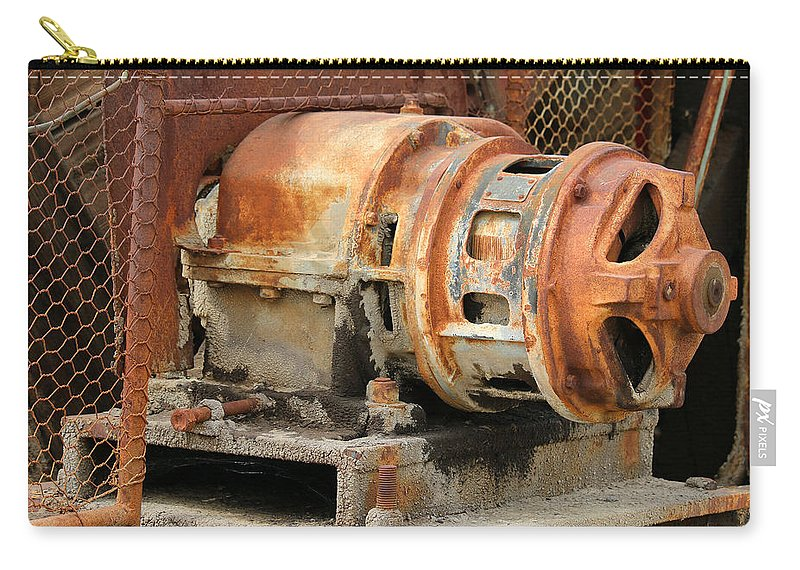 Motor Carry-all Pouch featuring the photograph Oil Field Electric Motor by Art Block Collections
