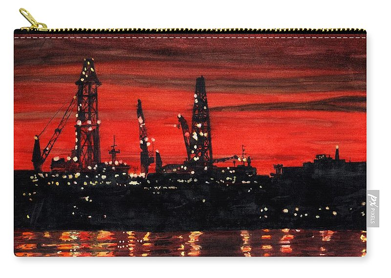 Cityscape Carry-all Pouch featuring the painting Oil Rigs Night Construction Portland Harbor by Dominic White