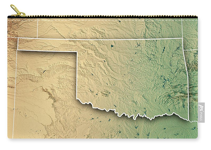 Oklahoma State Usa 3d Render Topographic Map Border Carry-all Pouch ...