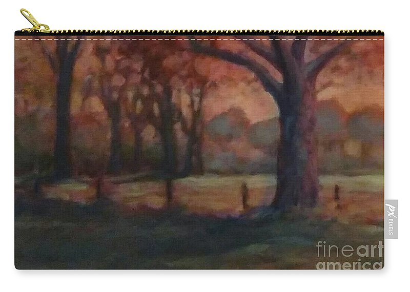 Sunset Pasture Oak Tree Country Landscape Carry-all Pouch featuring the painting Oklahoma Sundown by Cheryl Ellicott