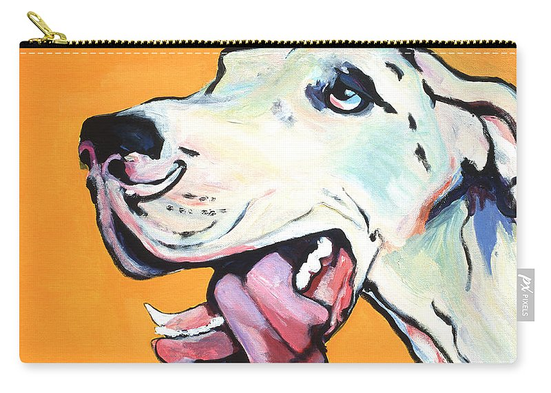 Commissioned Pet Portraits Available Carry-all Pouch featuring the painting Ol' Blue Eye by Pat Saunders-White