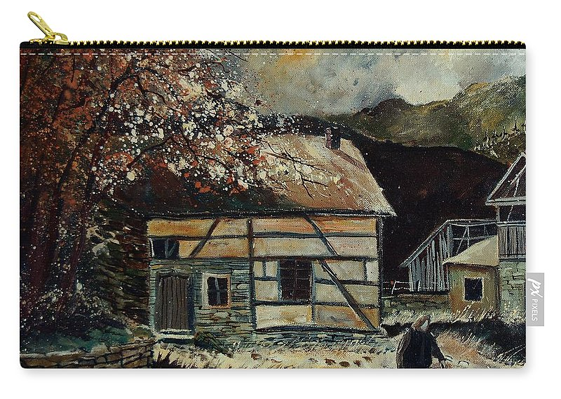 Village Carry-all Pouch featuring the painting Old Ardennes 56 by Pol Ledent