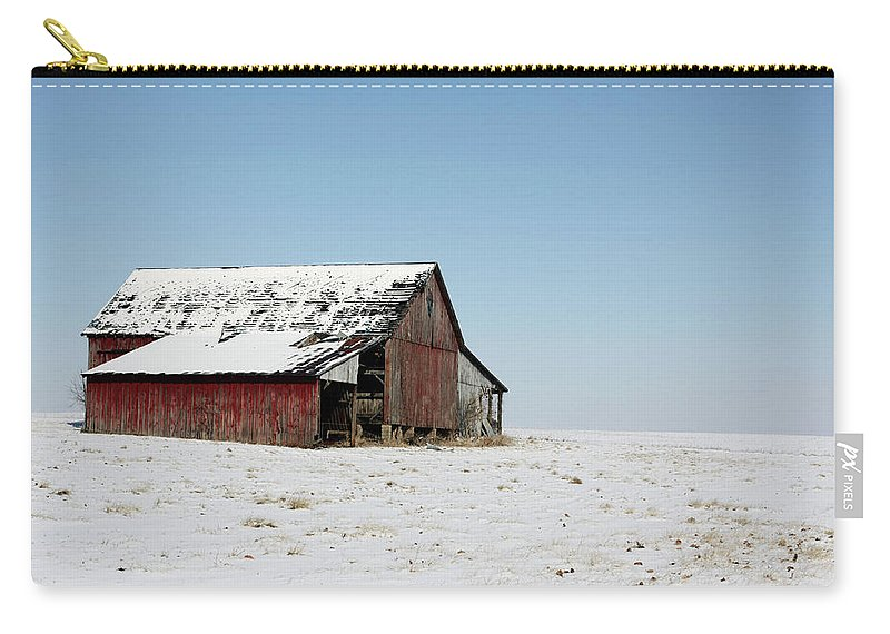 Agriculture Carry-all Pouch featuring the photograph Old Barn And Snowy Prairie by Alan Look