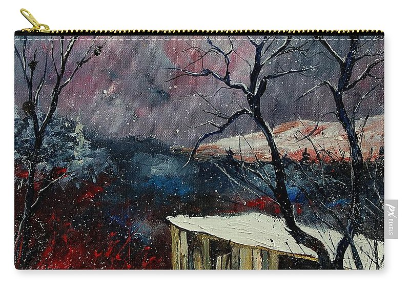 Winter Carry-all Pouch featuring the painting Old Barn In Winter by Pol Ledent