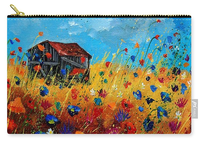 Poppies Carry-all Pouch featuring the painting Old Barn by Pol Ledent