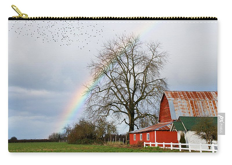Flying Carry-all Pouch featuring the photograph Old Barn Rainbow by Randall Ingalls