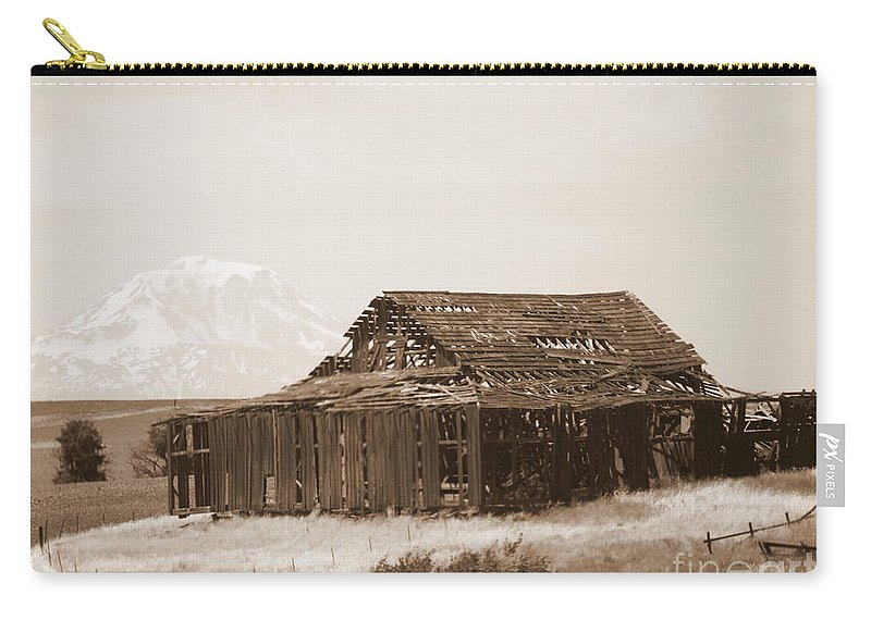 Barn Carry-all Pouch featuring the photograph Old Barn With Mount Adams In Sepia by Carol Groenen