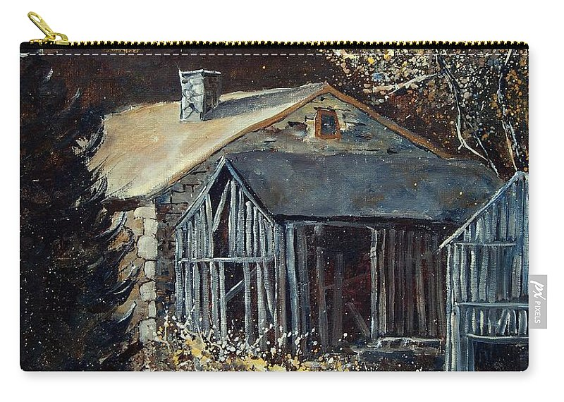 Village Carry-all Pouch featuring the painting Old Barns by Pol Ledent