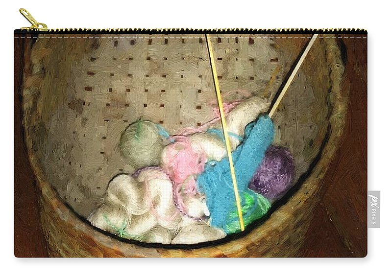 Americana Carry-all Pouch featuring the painting Old Basket New Yarn by RC DeWinter