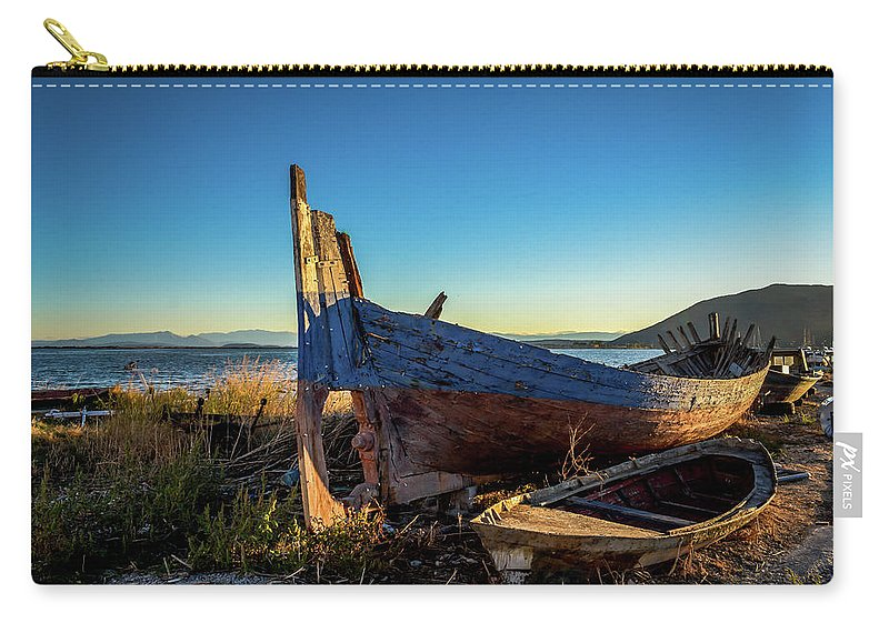 Landscape. Boats. Sunrise. Carry-all Pouch featuring the photograph Old Boats#1 by Yau Ming Low