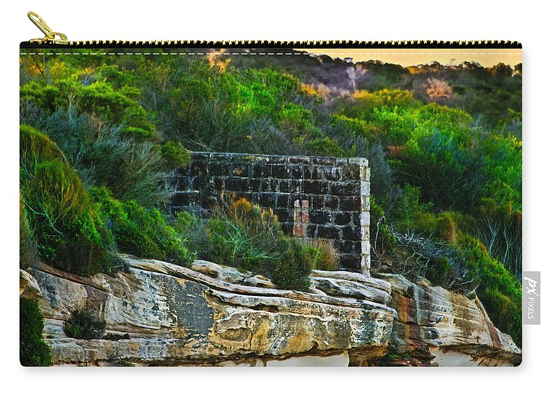 Fence Carry-all Pouch featuring the photograph Old Brick Fence Built To The Edge by Miroslava Jurcik