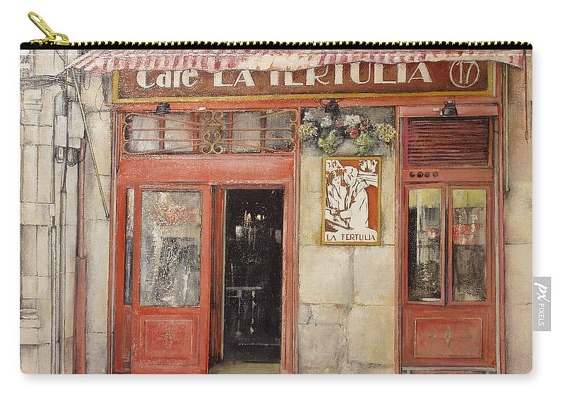 Cafe Carry-all Pouch featuring the painting Old Cafe- Santander Spain by Tomas Castano