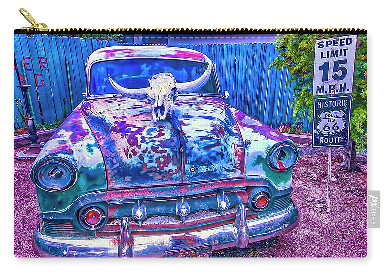 Car Carry-all Pouch featuring the photograph Old Car With Steer Skull by Garry Gay