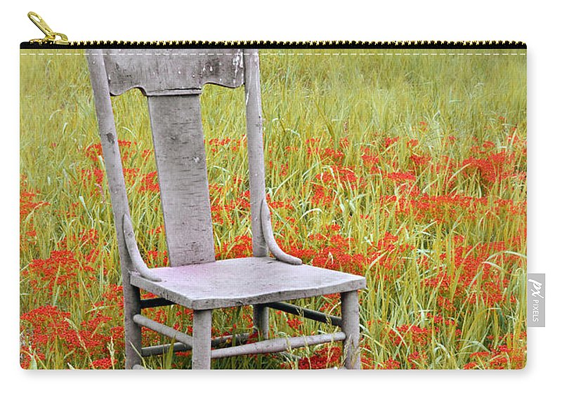 Chair Carry-all Pouch featuring the photograph Old Chair In Wildflowers by Jill Battaglia