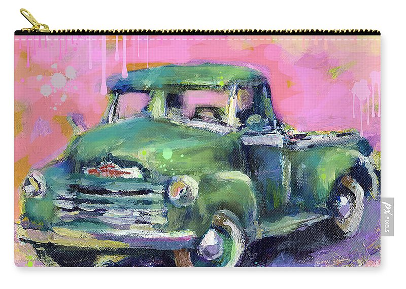 Old Chevrolet Pickup Truck Painting Prints Carry-all Pouch featuring the painting Old Chevy Chevrolet Pickup Truck On A Street by Svetlana Novikova