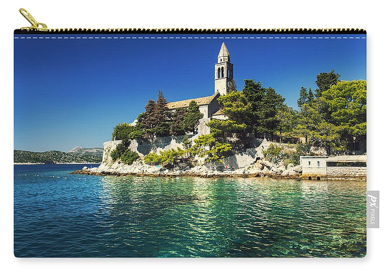 Adriatic Carry-all Pouch featuring the photograph Old Church On Croatian Island by Sandra Rugina