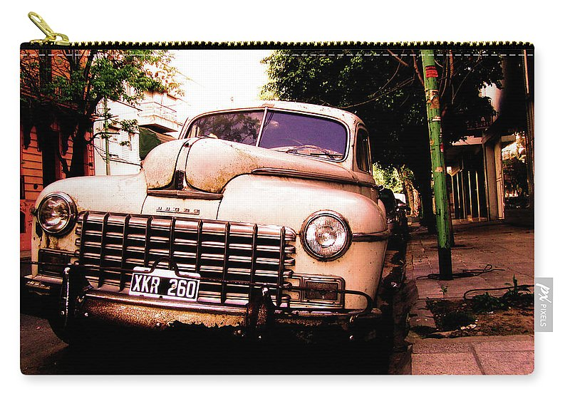 Car Carry-all Pouch featuring the photograph Old Classic Dodge, On The Streets Of Buenos Aires by Idan Badishi