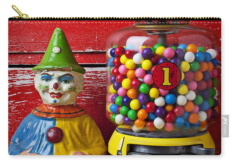 Old Clown Toy Carry-all Pouch featuring the photograph Old Clown Toy And Gum Machine by Garry Gay