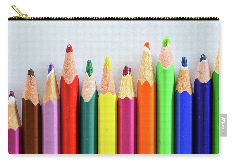Background Carry-all Pouch featuring the photograph Old Colored Pencils by Nicola Simeoni