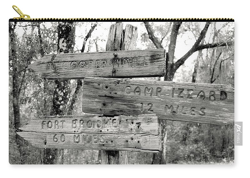 Florida Carry-all Pouch featuring the photograph Old Directional Signs At Fort Cooper by Debra Forand