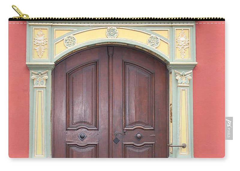Door Carry-all Pouch featuring the photograph Old Door And Emblem by Christiane Schulze Art And Photography