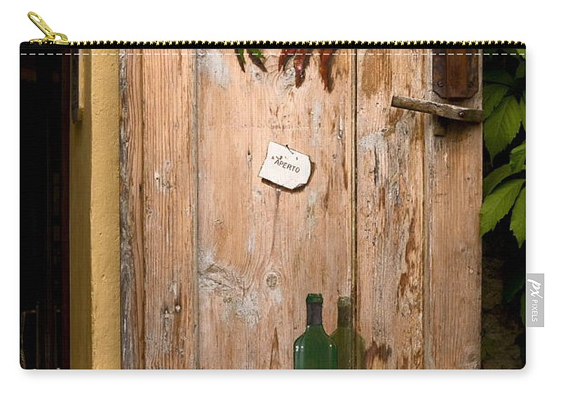 Old Door Carry-all Pouch featuring the photograph Old Door And Wine by Sally Weigand
