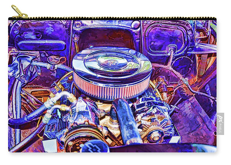 Old Engine Of American Car Carry-all Pouch featuring the painting Old Engine Of American Car by Jeelan Clark