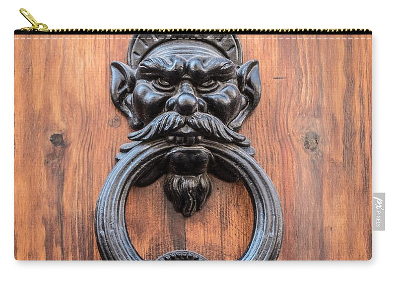 Door Carry-all Pouch featuring the photograph Old Face Door Knocker by Edward Fielding