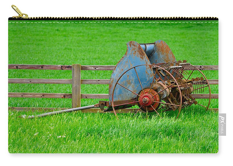 Grass Carry-all Pouch featuring the photograph Old Farm Equipment by Robert Barnes