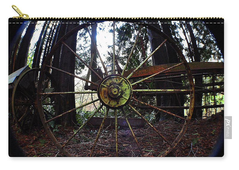 Clay Carry-all Pouch featuring the photograph Old Farm Wagon Wheel by Clayton Bruster
