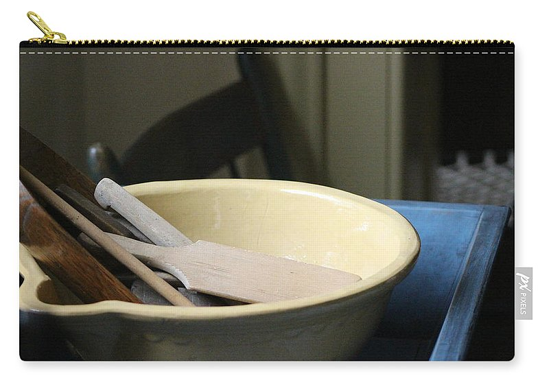 Vintage Mixing Bowl Carry-all Pouch featuring the photograph Old Fashioned Baking Tools by Colleen Cornelius
