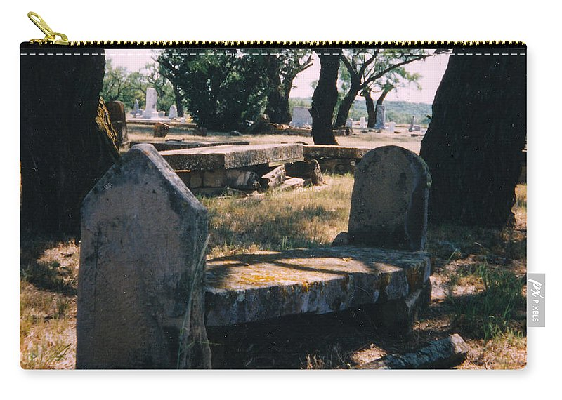 Grave Old Cementery Rocks Carry-all Pouch featuring the photograph Old Grave by Cindy New