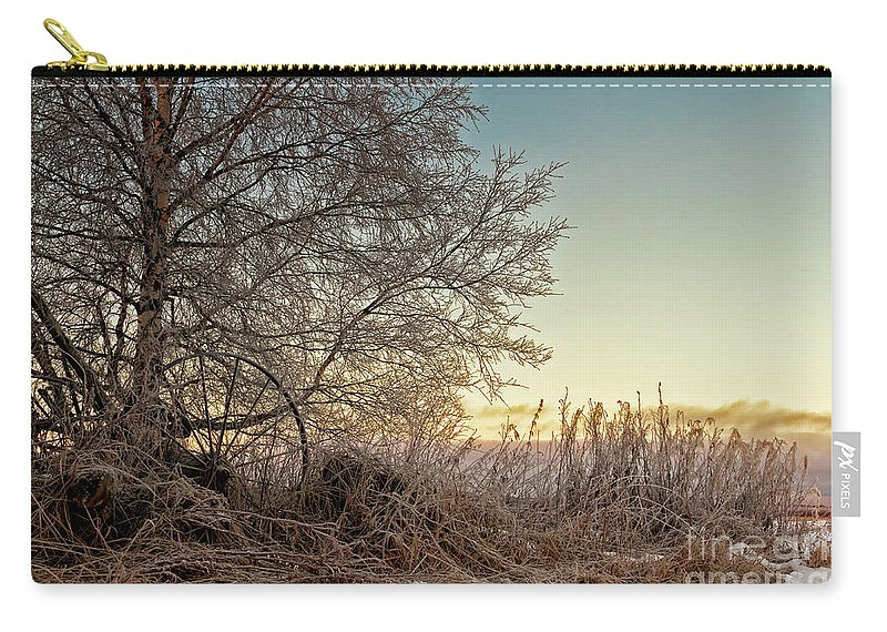 Copy Space Carry-all Pouch featuring the photograph Old Harvester By The Birch Tree by Jukka Heinovirta