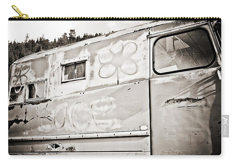 Americana Carry-all Pouch featuring the photograph Old Hippie Peace Van by Marilyn Hunt