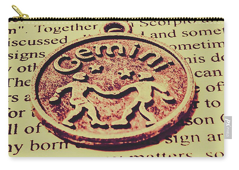 Symbol Carry-all Pouch featuring the photograph Old Horoscope Of Gemini by Jorgo Photography - Wall Art Gallery